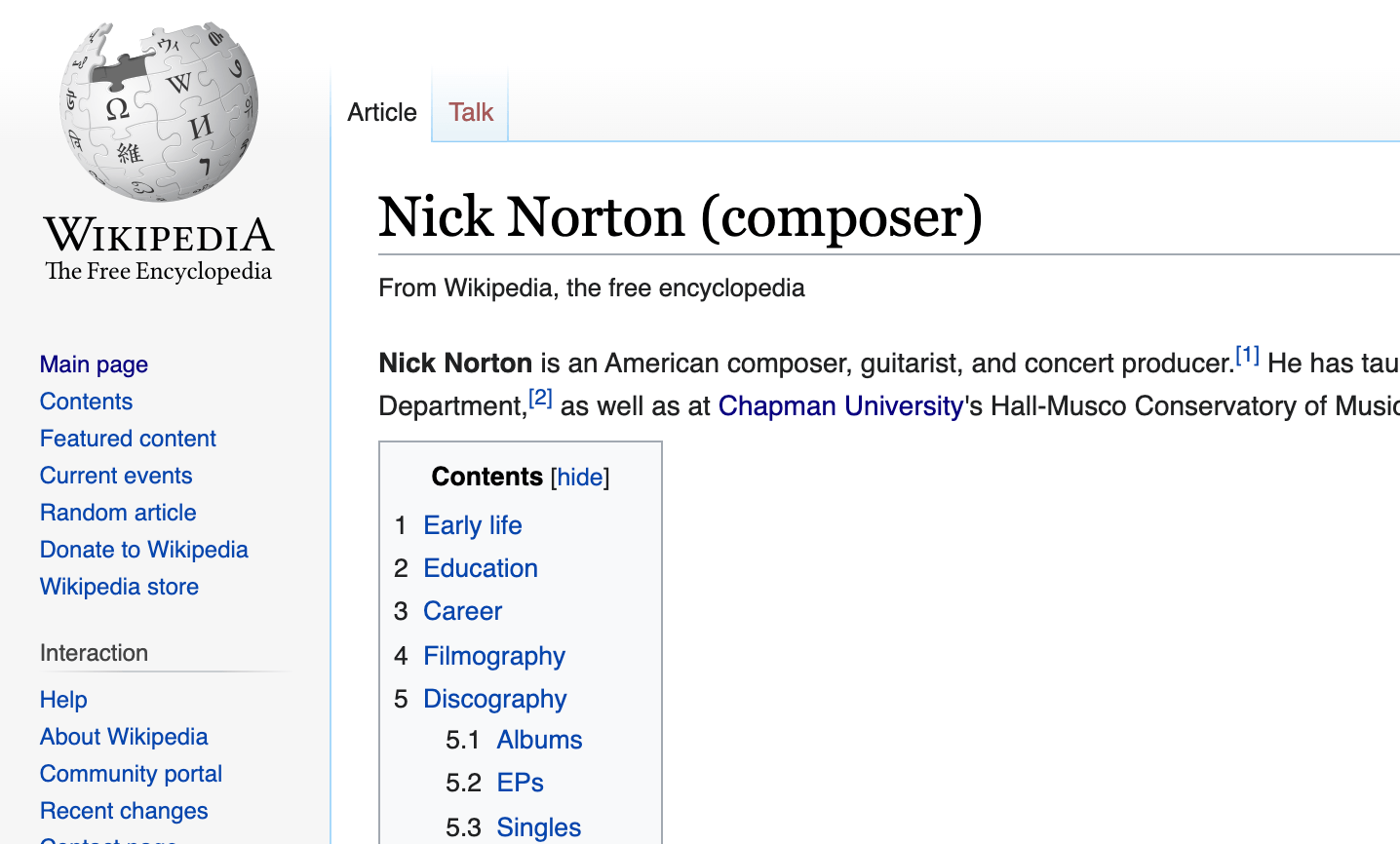 A screenshot of the Wikipedia entry for Nick Norton